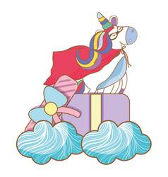 Happy birthday unicorn cartoons vector