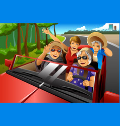 happy stylish elderly women riding a car vector image