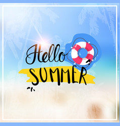hello summer blurred sea bokeh beach background vector image