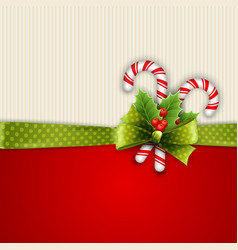 Holiday background with green ribbon and bow vector image