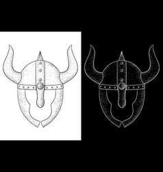 horned helmet with face protection viking vector image