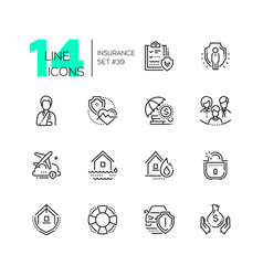 Insurance - set of line design style icons vector