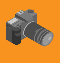 Isometric photo camera with lens vector