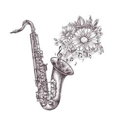 Jazz music hand-drawn sketch a saxophone sax vector
