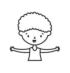 Little boy infant cartoon character line style vector