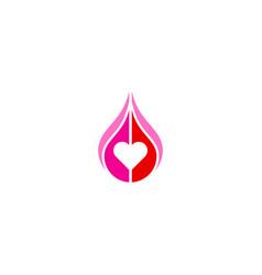 love heart droplet logo vector image