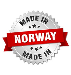 made in Norway silver badge with red ribbon vector image