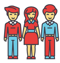 man and woman in full body concept line vector image