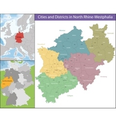 Map of North Rhine-Westphalia vector
