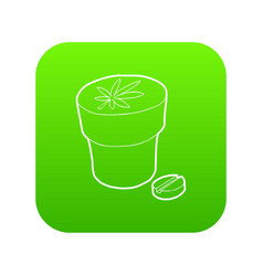 medical marijuana bottle and tablet icon green vector image