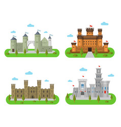 medieval castles fortresses and bastions in a vector image