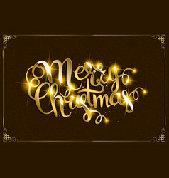 merry christmas text with glitter elements vector image
