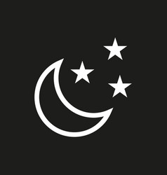 Moon and stars icon on black background vector