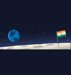 Moon landscape with india flag and earth scene vector