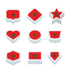 Morocco flags icons and button set nine styles vector