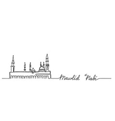 Mosque nabawi one continuous line drawingmawlid vector