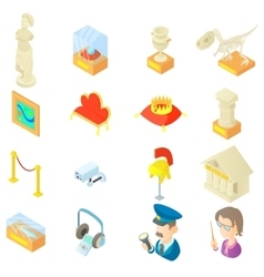 Museum icons set in cartoon style vector