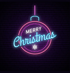neon ball with inscription merry christmas shiny vector image