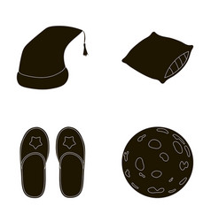 Night cap pillow slippers moon rest and sleep vector