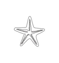 one continuous line drawing cute starfish vector image