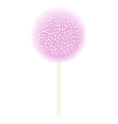 One lollipop pink isolated on white icing and vector