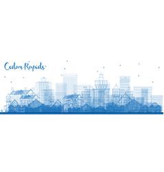 outline cedar rapids iowa skyline with blue vector image