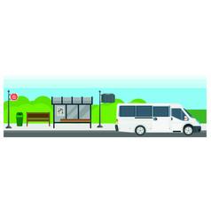 passenger public bus stop transport flat vector image