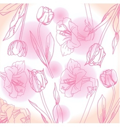 Pink and white background with peony vector