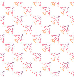 plane line icon seamless pattern vector image