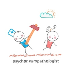 Psychoneuropathologist runs with a hammer for the vector