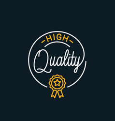 quality stamp logo round linear lettering vector image