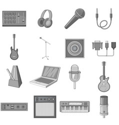 Recording studio icons set monochrome vector