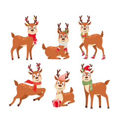 reindeers flat set cute vector image