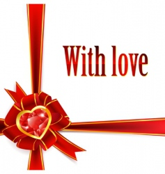 Ribbon bow with ruby heart vector