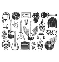 rock music symbols musical instruments icons set vector image
