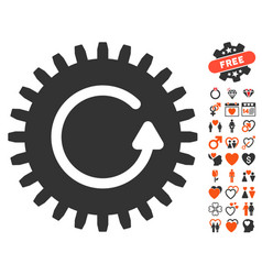 Rotate cog icon with lovely bonus vector