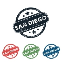 Round San Diego stamp set vector