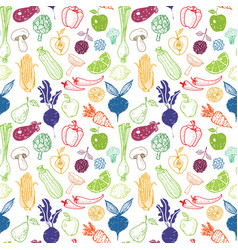Seamless background with doodle vegetables and vector