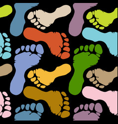 seamless pattern footprints in pastel colors vector image