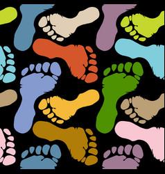 seamless pattern footprints in pastel colors vector image