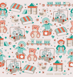 seamless pattern vintage toys children play vector image