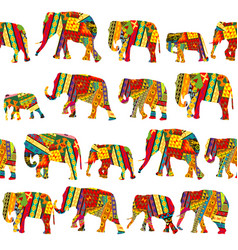 Seamless pattern with elephants in ethnic motifs vector
