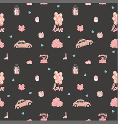 Seamless pattern with romantic objects in rose vector