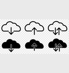 set cloud download and upload icons vector image