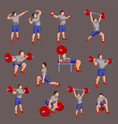 set colored bodybuilders vector image