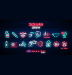 Set covid-19 protection icons in neon style vector