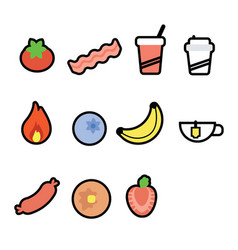 Set of 11 food and drink icons vector