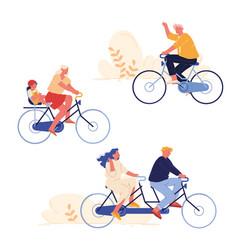 set people biking sport and leisure activity vector image