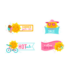 set summer sale banners with cute cartoon sun vector image