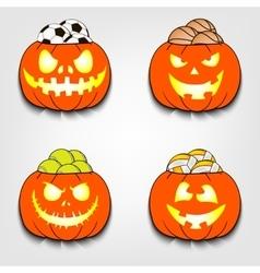 Set the balls in a pumpkin vector image
